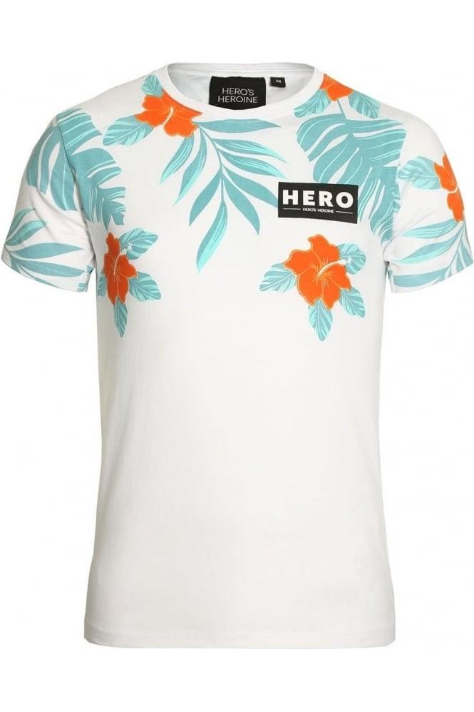 HERO'S HEROINE Half Hibiscus T-Shirt White