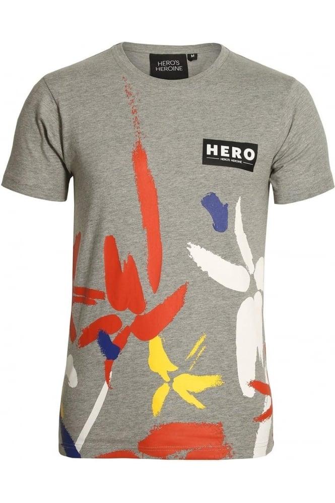 HERO'S HEROINE Half Strokes Grey Marl T-Shirt
