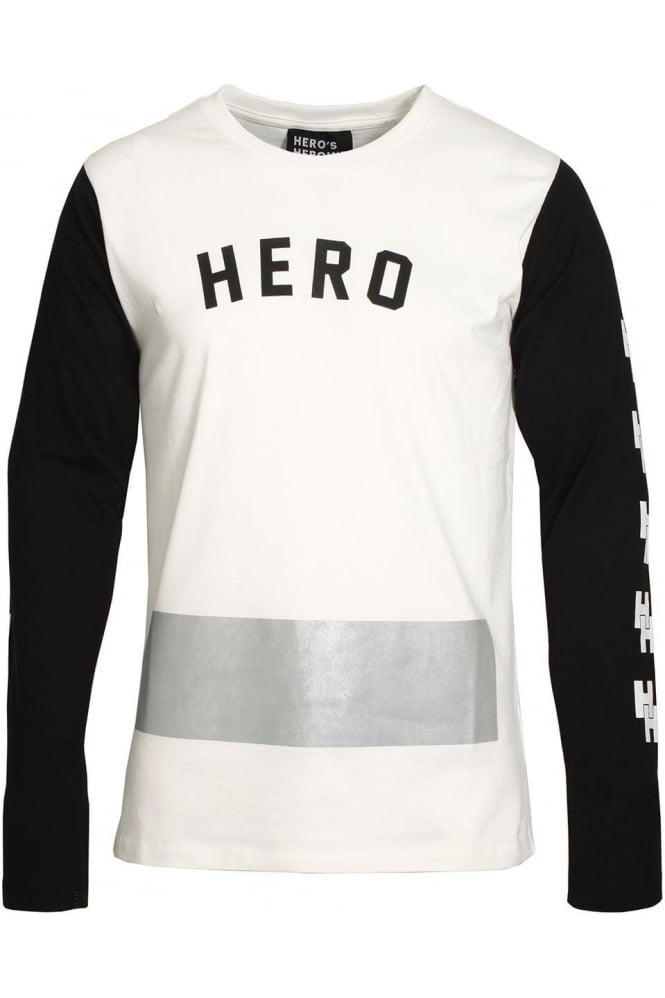 HERO'S HEROINE Long Sleeve Long Line Mono T-Shirt | White
