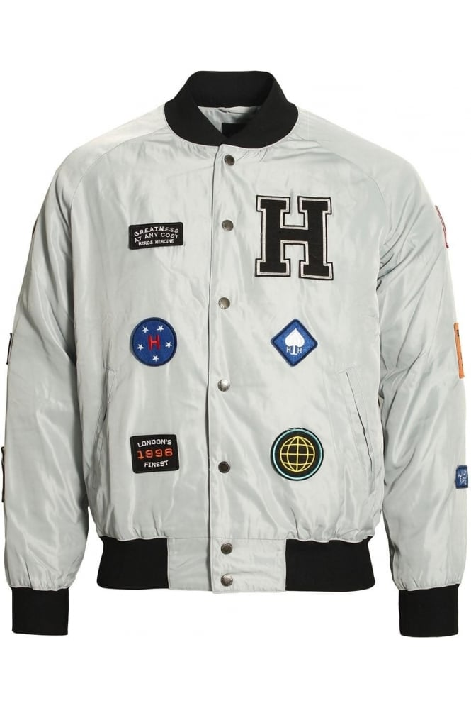 HERO'S HEROINE Patches Bomber Jacket | Grey