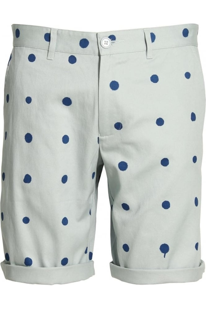 HERO'S HEROINE Polka Dot Cotton Twill Shorts | Blue
