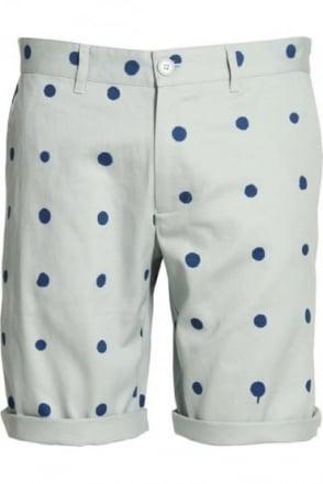 Polka Dot Cotton Twill Shorts | Blue