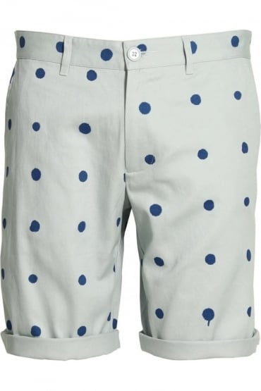 Polka Dot Cotton Twill Shorts | Blue