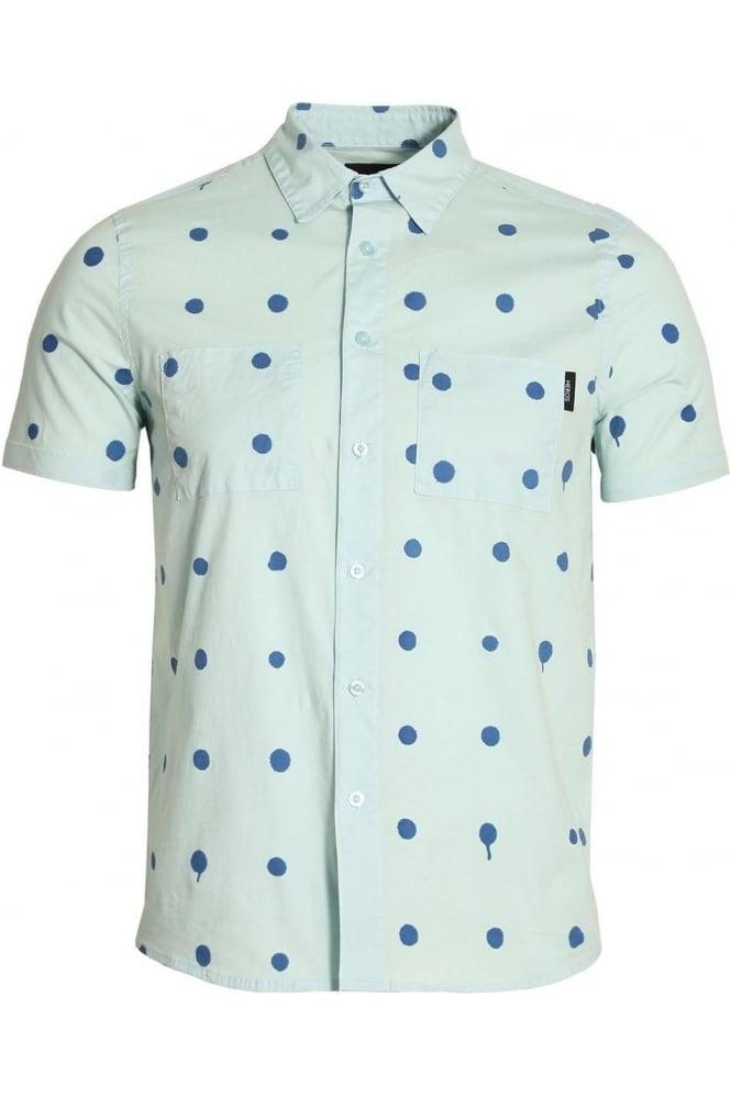 HERO'S HEROINE Polka Dot Short Sleeve Cotton Shirt   Blue