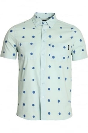 Polka Dot Short Sleeve Cotton Shirt | Blue