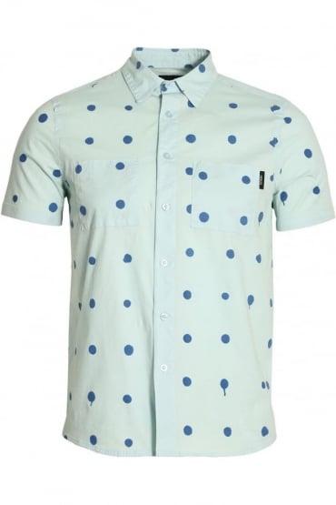 Polka Dot Short Sleeve Cotton Shirt | Blue