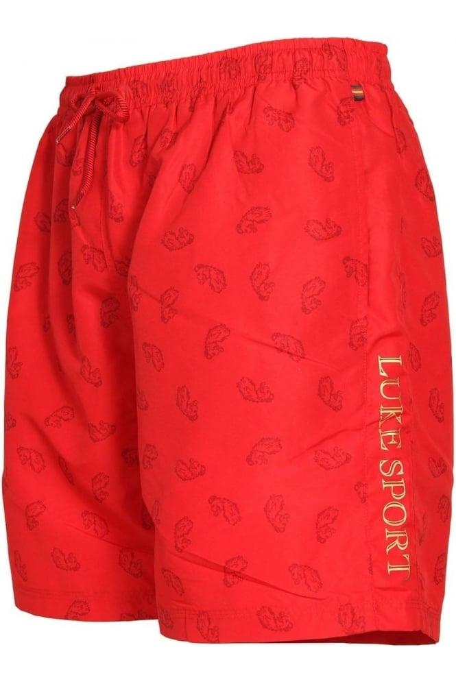 LUKE SPORT Mathews Monogrammed Shorts | Marina Red