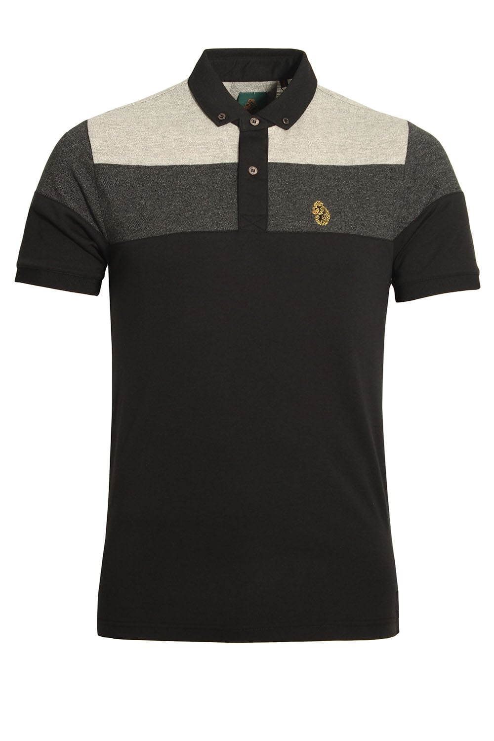 Luke sport mickey spacer stripe polo shirt black mix for Luke donald polo shirts