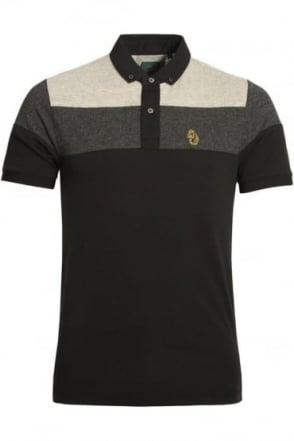 Mickey Spacer Stripe Polo Shirt | Black Mix