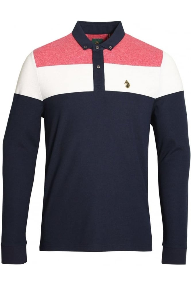 LUKE SPORT Mickey Spacers Long Sleeve Polo Shirt | Lux Navy