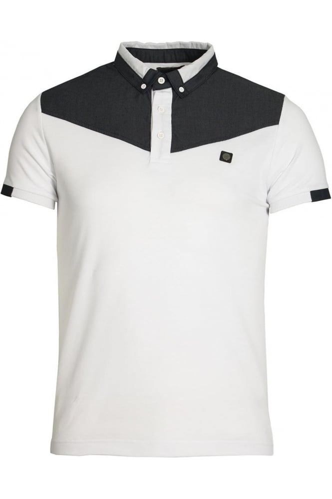 VOI JEANS Baker Button Down Polo Shirt | White