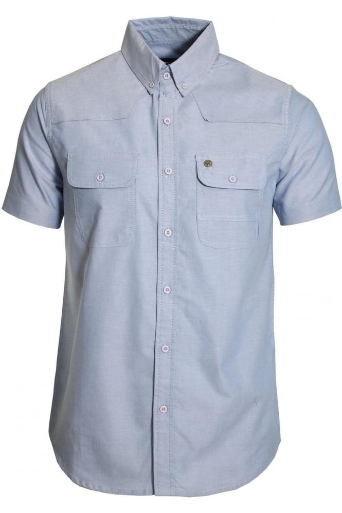 VOI JEANS Burke Chambray Cotton Shirt | Light Blue