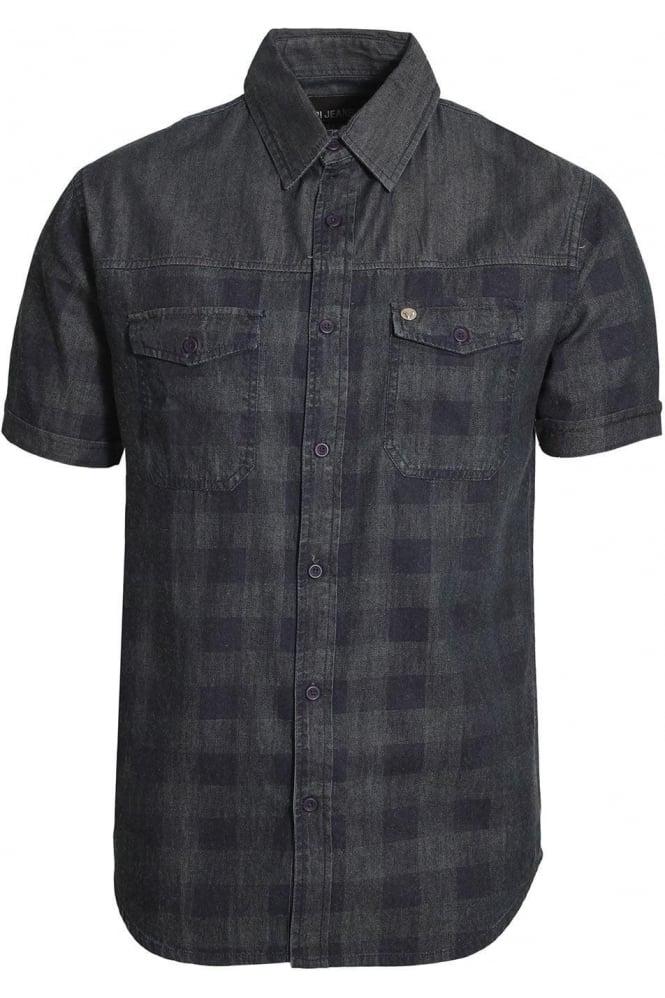 VOI JEANS Dench Check Denim Shirt | Blue Denim