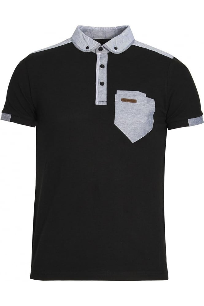 VOI JEANS Fulton Button Down Polo Shirt | Black